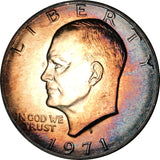 1971-S Silver Eisenhower Dollar IKE BU MS Rainbow Color Toned Gem