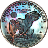 1978-S Eisenhower Dollar IKE BU Proof Rainbow Color Toned Gem