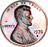 1976-S Lincoln Memorial Penny BU Proof Rainbow Color Toned Gem