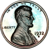 1972-S Lincoln Memorial Penny BU Proof Light Blue Color Toned Gem