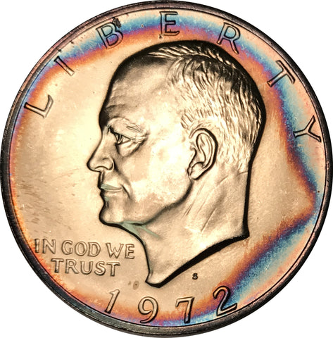 1972-S Silver Eisenhower Dollar IKE BU MS Rainbow Color Toned Gem