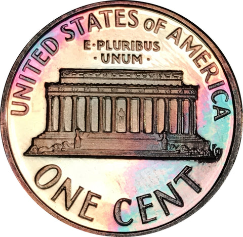 1999-S Lincoln Memorial Penny BU Proof Light Multi Color Toned Gem