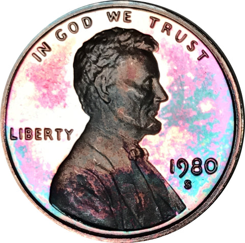 1980-S Lincoln Memorial Penny BU Proof Light Blue Color Toned Gem