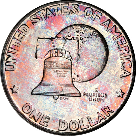 1976-S Silver Eisenhower Dollar IKE BU Proof Rainbow Color Toned Gem