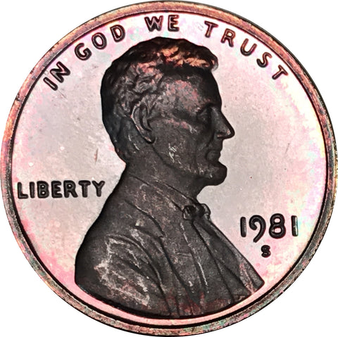 1981-S Lincoln Memorial Penny BU Proof Multi Color Toned Gem