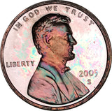 2005-S Lincoln Memorial Penny BU Proof Light Multi Color Toned Gem