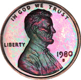 1980-S Lincoln Memorial Penny BU Proof Rainbow Color Toned Gem
