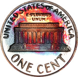 1987-S Lincoln Memorial Penny BU Proof Light Multi Color Toned Gem