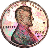1979-S Lincoln Memorial Penny BU Proof Rainbow Color Toned Gem