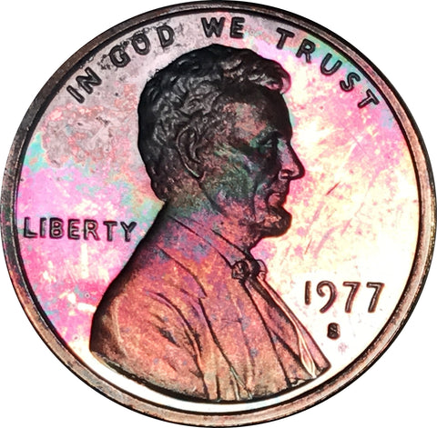 1977-S Lincoln Memorial Penny BU Proof Rainbow Color Toned Gem