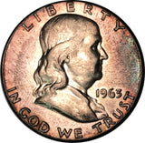 1963 Franklin Silver Half Dollar BU MS Rainbow Color Toned
