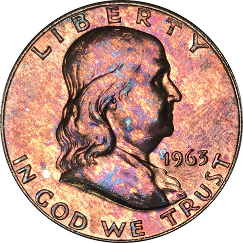 1963-D Franklin Silver Half Dollar BU MS Rainbow Color Toned