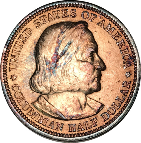 1893 Columbian Silver Half Dollar BU MS Rainbow Toned Gem