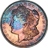 1921 Morgan Silver Dollar MS BU Stunning Rainbow Color Toned Gem