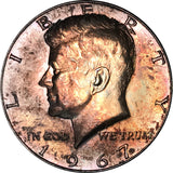 1967 Kennedy Silver Half Dollar MS Rainbow Color Toned Gem