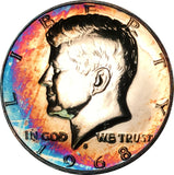 1968-S Kennedy Silver Half Dollar BU Proof Rainbow Color Toned