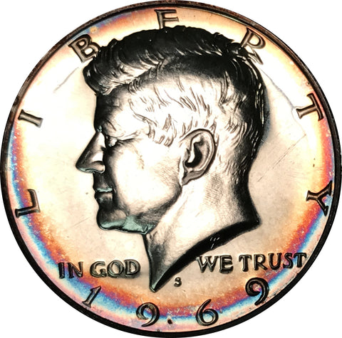 1969-S Kennedy Silver Half Dollar BU Proof Rainbow Color Toned