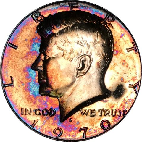 1970-S Kennedy Silver Half Dollar BU Proof Rainbow Color Toned
