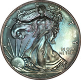 2015 American Silver Eagle ASE BU MS Rainbow Color Toned Gem