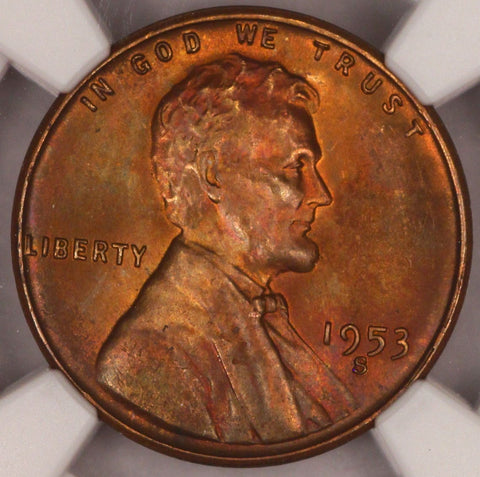 1953-S Lincoln Cent NGC MS65RB Wheat Penny! Nicely Rainbow Color Toned