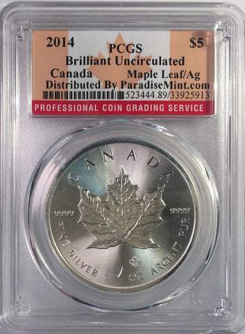 2014 Canada Silver Maple Leaf AG $5 Dollar PCGS BU Leaf Superb Lustrous Gem