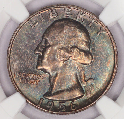 1956-P Washington Quarter NGC MS65 Superb Gem Mint Set Rainbow Color Tone