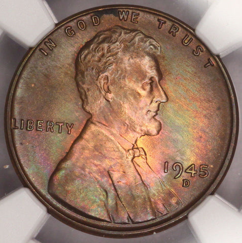 1945-D Lincoln Cent NGC MS65RB Wheat Penny Nicely Rainbow Color Toned