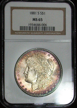 1881-S  Morgan Silver Dollar NGC MS65 Gem Multi Color Toned