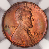 1944-S Lincoln Cent NGC MS65RB Wheat Penny Rainbow Color Toned!