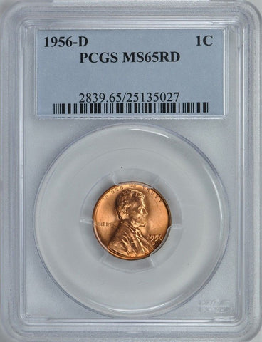 1956-D Lincoln Wheat Penny 1C PCGS MS65RD