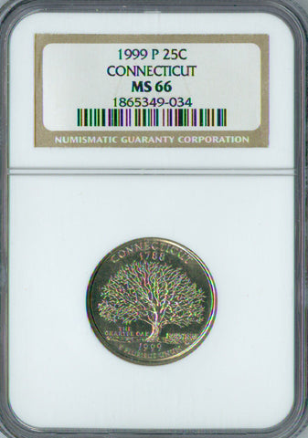 1999-P Connecticut State Quater NGC MS-66