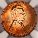 1958-D Lincoln Cent NGC MS64RB Wheat Penny! Nicely Rainbow Color Toned