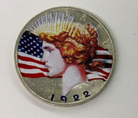 1922 Peace Dollar Silver MS Colorized OBV and REV (In Display Case)