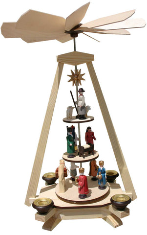 Pyramid with nativity scene Wisemen and shepherd on 3 different levels