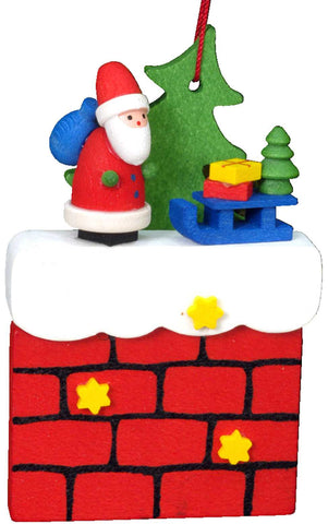 Hanging Ornament - Santa on Chimney with Sliegh