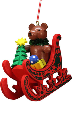 Hanging Ornament - Teddy Sled