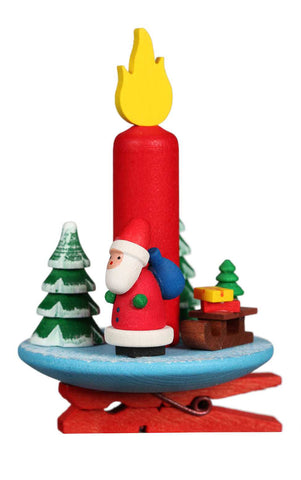 Ornament - Clip on Candle With Santa