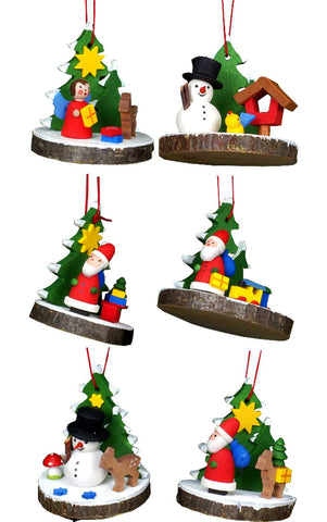 Hanging Ornament - Assorted Treeslice (Set 6)
