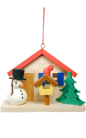 Hanging Ornament - Cottage with Snowman