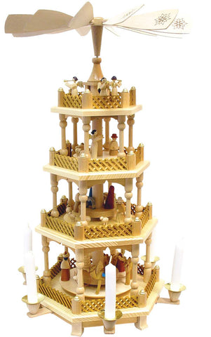 Pyramid - 4 tiers - Nativity Scene. Wise Men Shepherds and Angels