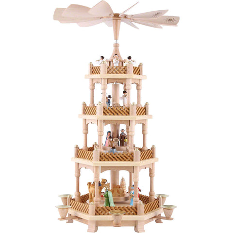 Pyramid - 4 tiers - Nativity Scene Wise men Shepherds and Angels