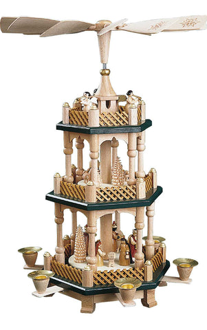 Pyramid - 3 tiers - Nativity Scene Wise men Shepherds and Angels