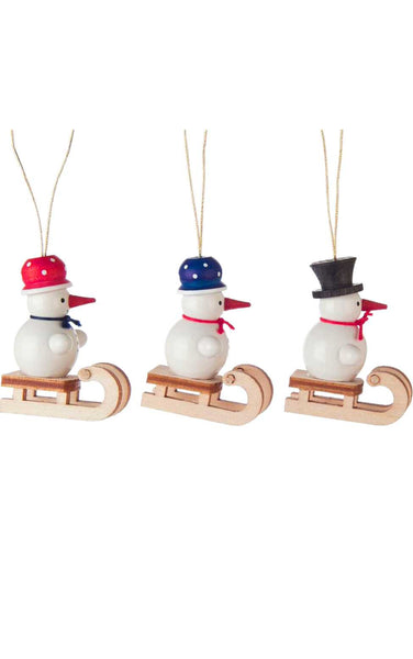 Mini Ornament - Assorted Snowmen on Sled (Set of 3)