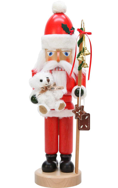 Nutcracker - Santa with white teddy bear