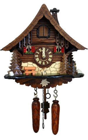 Black Forest Clock with Red Shutters and Puppy| MyDirndl.Com™