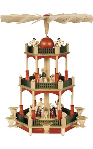 Pyramid - 3-Tier Nativity with Stain finish