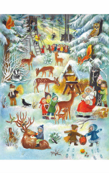 Advent Calendar Children Playing with Santa and Deer
