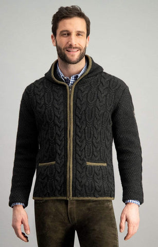 Schachen With Hood Men's Sweater Jacket | MyDirndl.Com™