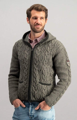 Silberberg With Hood Men's Sweater Jacket | MyDirndl.Com™