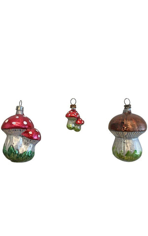 Assorted Glass Mushrooms  Set of 3